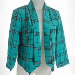 🦋 Cato Open Front  Blue Green Plaid Jacket Sz S